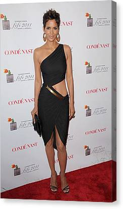 Halle Berry Wearing A Halston Dress Canvas Print by Everett
