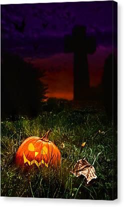 Halloween Cemetery Canvas Print by Amanda Elwell
