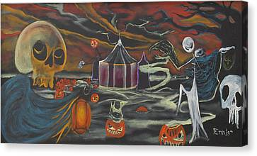 Canvas Print featuring the painting Halloween Circus by Christophe Ennis