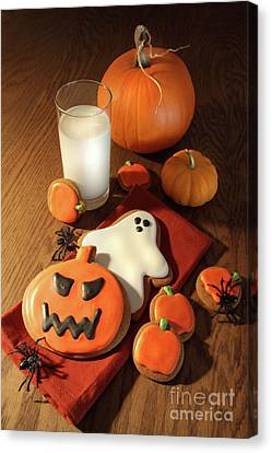 Halloween Cookies With A Glass Of Milk Canvas Print by Sandra Cunningham