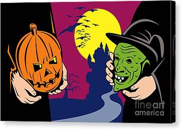 Halloween Mask Jack-o-lantern Witch Retro Canvas Print by Aloysius Patrimonio