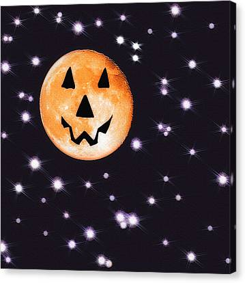 Halloween Night - Moon And Stars Canvas Print by Steve Ohlsen