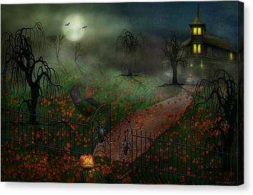 Haunted House Canvas Print - Halloween - One Hallows Eve by Mike Savad