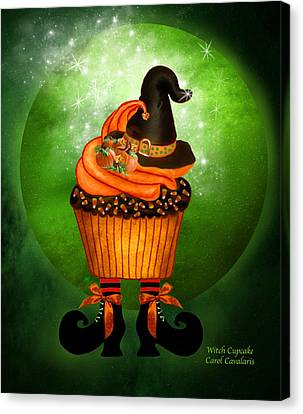 Halloween - Witch Cupcake Canvas Print by Carol Cavalaris