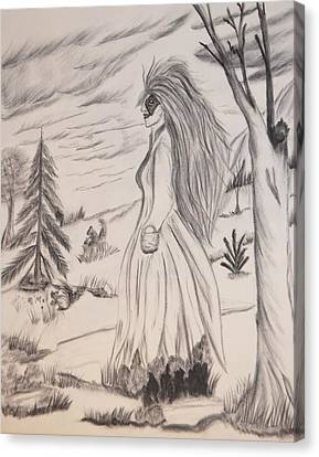Canvas Print featuring the drawing Halloween Witch Walk by Maria Urso