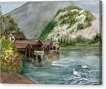Canvas Print featuring the painting Hallstatt In The Spring  by Nancy Patterson