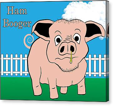 Canvas Print featuring the digital art Ham Booger by John Crothers