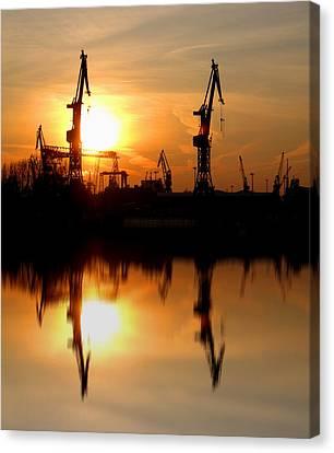 Canvas Print featuring the photograph Hamburg Docks by David Harding