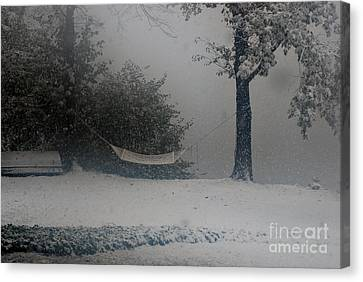 Hammock Snow In Autumn Canvas Print by Andrea Simon