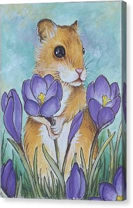 Hamster Picking Purple Crocus Canvas Print by Debrah Nelson