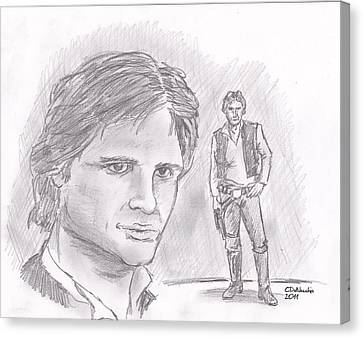 Canvas Print featuring the drawing Han Solo -space Pirate by Chris  DelVecchio