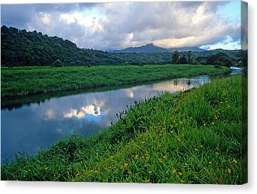 Hanalei River Reflections Canvas Print by Kathy Yates