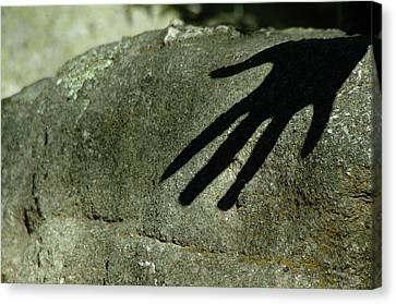 Hand On Stone Canvas Print