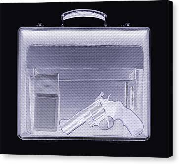 Terrorist Canvas Print - Handgun In Briefcase, Simulated X-ray by Mark Sykes