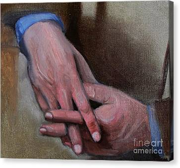 Hands In Oils Canvas Print by Kostas Koutsoukanidis