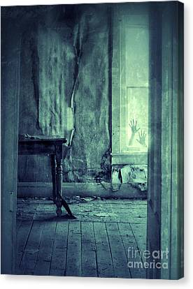 Haunted House Canvas Print - Hands On Window Of Creepy Old House by Jill Battaglia
