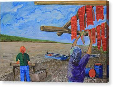 Hanging Salmon On The Yukon River Canvas Print by Amy Reisland-Speer