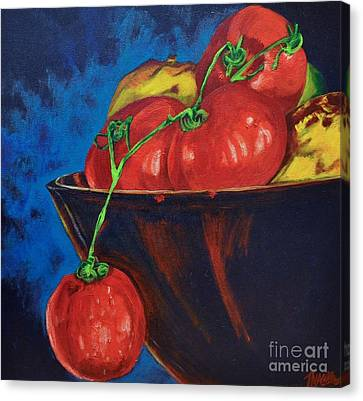 Hanging Tomato Canvas Print by Theresa Eisenbarth