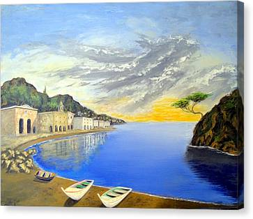 Canvas Print featuring the painting Hanging Tree On The Mediterranean by Larry Cirigliano