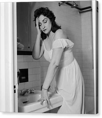 Domestic Bathroom Canvas Print - Hangover? by Sherman