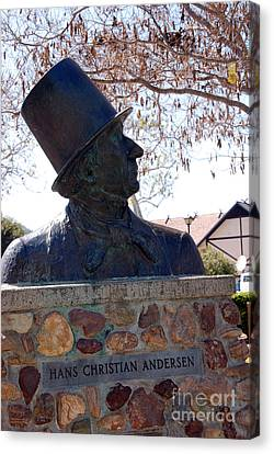 Hans Christian Andersen Statue In The Park In Solvang California Canvas Print by Susanne Van Hulst