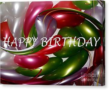 Happy Birthday - Balloons Canvas Print by Kaye Menner