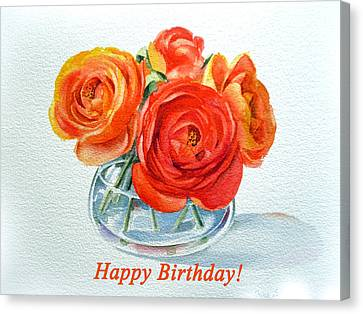 Happy Birthday Card Flowers Canvas Print by Irina Sztukowski