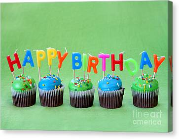 Happy Birthday Cupcakes Canvas Print by Darren Fisher