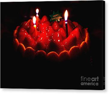 Happy Birthday Strawberry Charlotte Cake Canvas Print by Wingsdomain Art and Photography