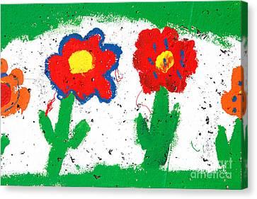Happy Colorful Flowers Canvas Print by Gaspar Avila