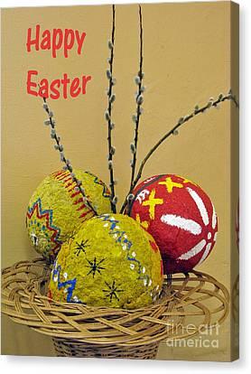Happy Easter Greeting. Papier-mache Canvas Print