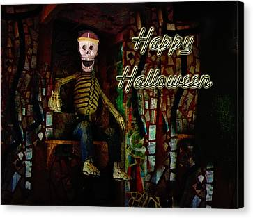 Happy Halloween Skeleton Greeting Card Canvas Print by Mother Nature