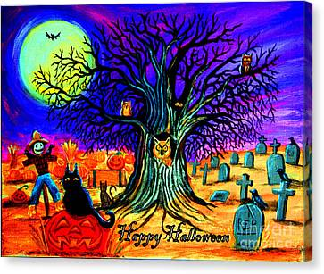 Happy Halloween Spooky Night Canvas Print by Nick Gustafson
