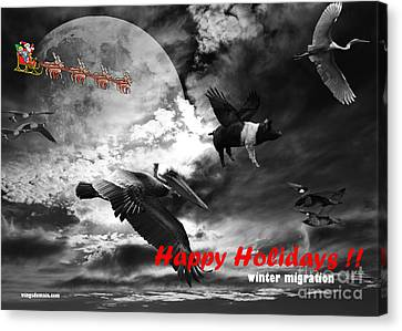 Happy Holidays . Winter Migration . Bw Canvas Print by Wingsdomain Art and Photography