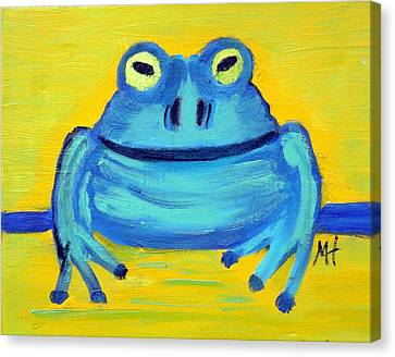 Canvas Print featuring the painting Happy Male Frog by Margaret Harmon