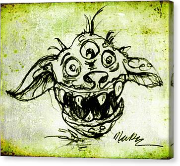 Canvas Print featuring the drawing Happy Monster  by Nada Meeks