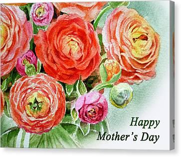 Happy Mothers Day Card Canvas Print by Irina Sztukowski