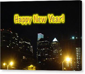 Happy New Year Greeting Card - Philadelphia At Night Canvas Print by Mother Nature
