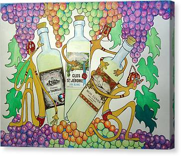 Happy People With Wine Canvas Print