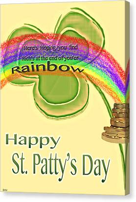 Friend Holiday Card Canvas Print - Happy St.patty's Day Rainbow by Debra     Vatalaro