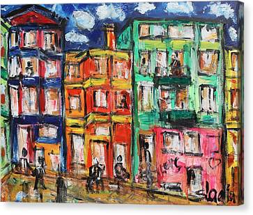 Happy Street Canvas Print by Sladjana Lazarevic