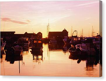 Harbor At Sunrise Canvas Print by Bilderbuch