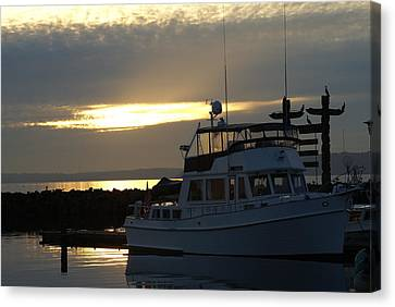Canvas Print featuring the photograph Harbor At Sunset by Jerry Cahill
