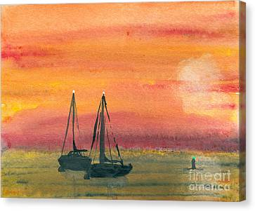 Harbor Colors Canvas Print by R Kyllo