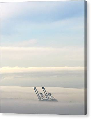 Harbor Cranes In Fog Canvas Print by Sean Griffin