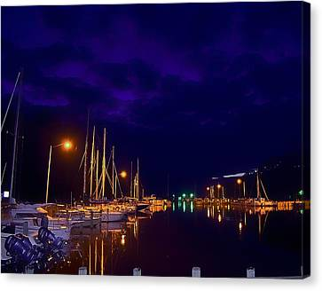 Canvas Print featuring the photograph Harbor Nights by Kelly Reber