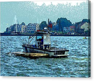 Canvas Print featuring the painting Harbormaster by Elinor Mavor