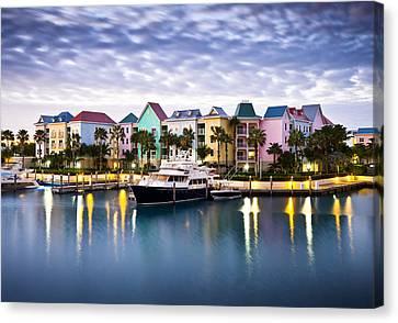 Harborside Resort At Dawn - Paradise Island Nassau Bahamas Canvas Print by Dave Allen