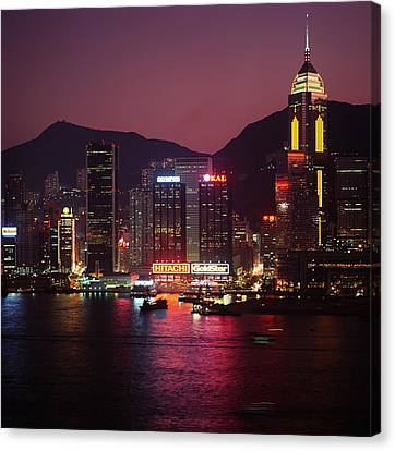 Harbour View At Night Canvas Print by Axiom Photographic