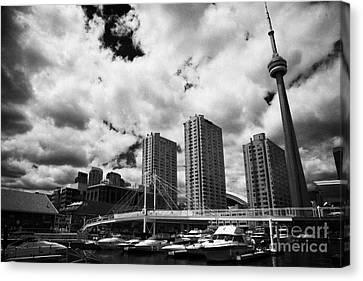 Harbourfront Marina And Pedestrian Bridge Toronto Skyline Ontario Canada Canvas Print by Joe Fox